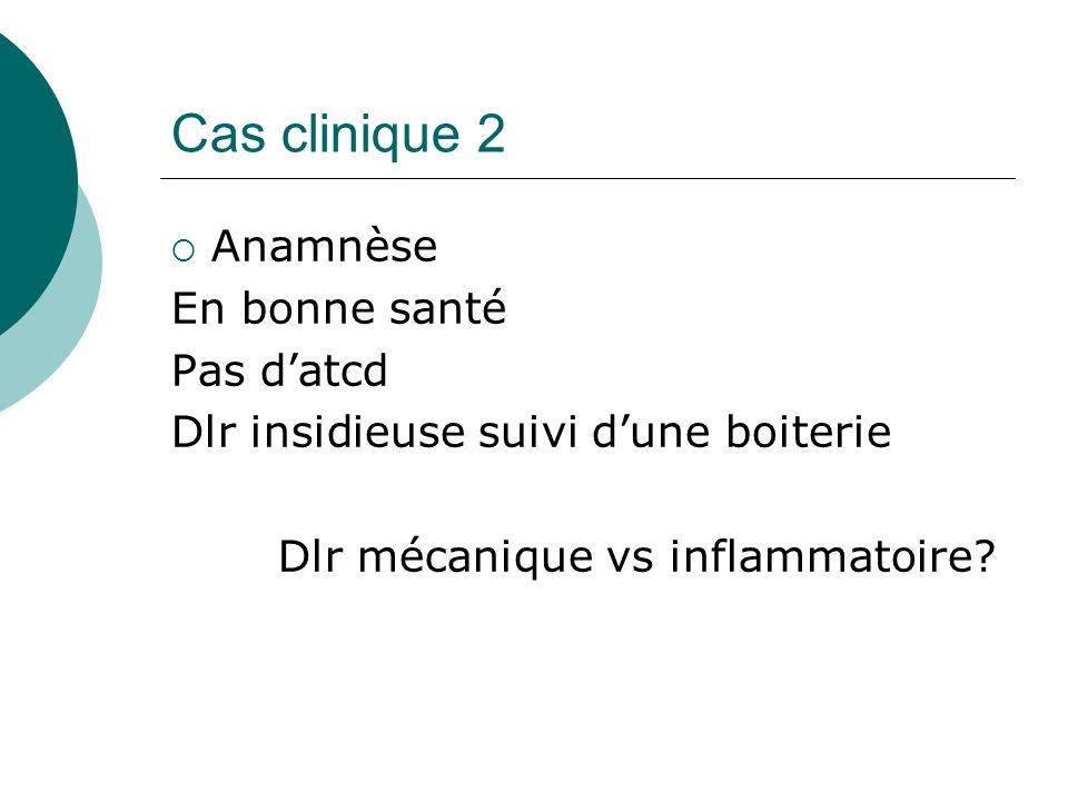 Cas clinique 2 Anamnèse En bonne santé Pas d'atcd