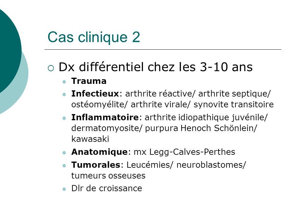 Cas clinique 2 Dx différentiel chez les 3-10 ans Trauma