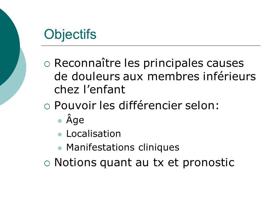 Objectifs Reconnaître les principales causes de douleurs aux membres inférieurs chez l'enfant. Pouvoir les différencier selon: