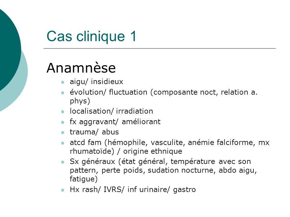 Cas clinique 1 Anamnèse aigu/ insidieux