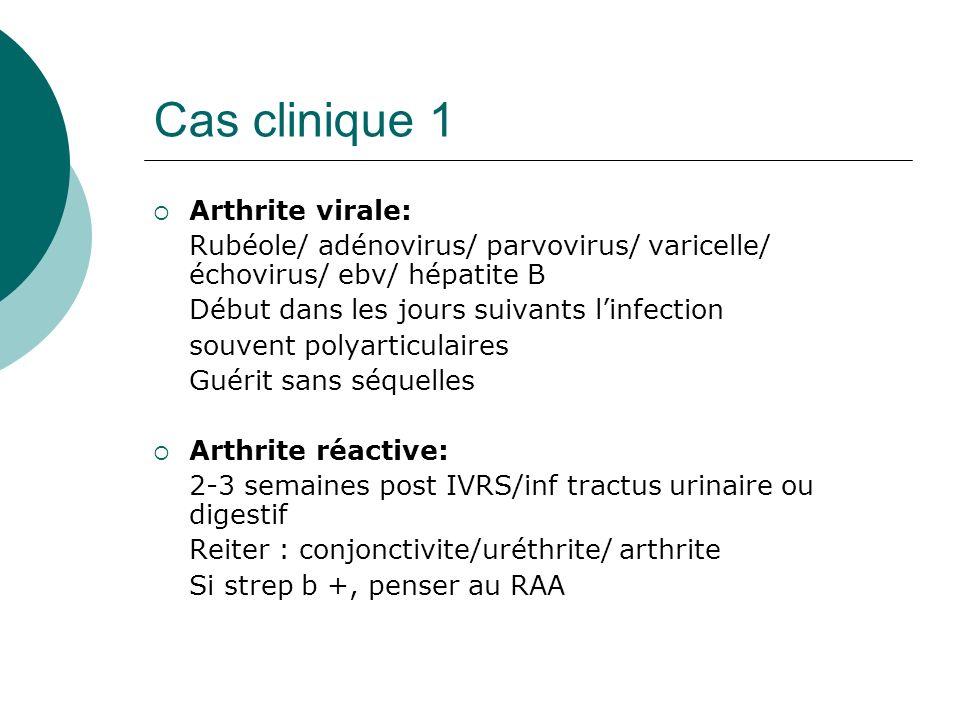 Cas clinique 1 Arthrite virale: