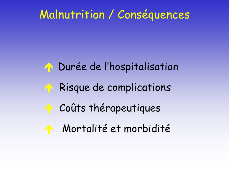 Malnutrition / Conséquences