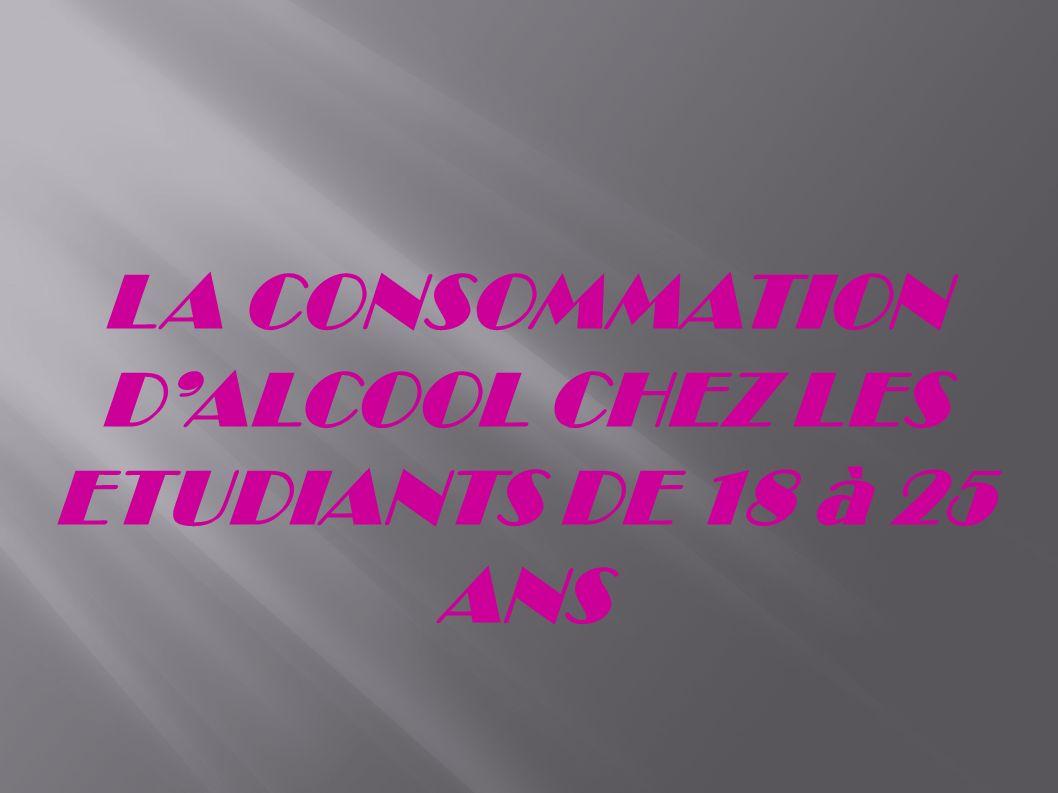 LA CONSOMMATION D'ALCOOL CHEZ LES ETUDIANTS DE 18 à 25 ANS