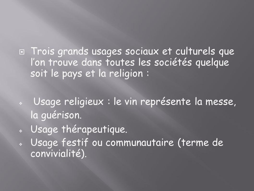 Trois grands usages sociaux et culturels que l'on trouve dans toutes les sociétés quelque soit le pays et la religion :