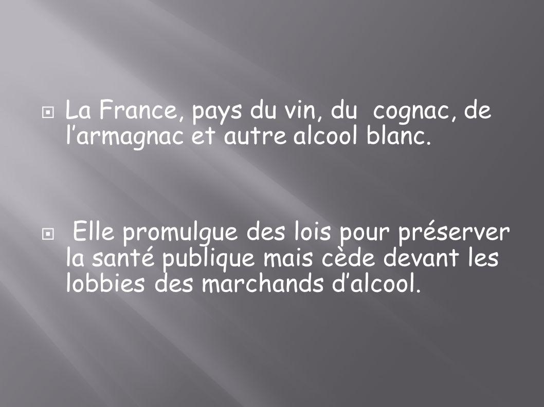 La France, pays du vin, du cognac, de l'armagnac et autre alcool blanc.