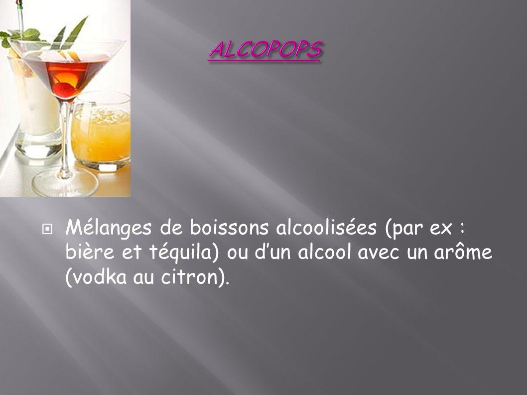ALCOPOPS Mélanges de boissons alcoolisées (par ex : bière et téquila) ou d'un alcool avec un arôme (vodka au citron).