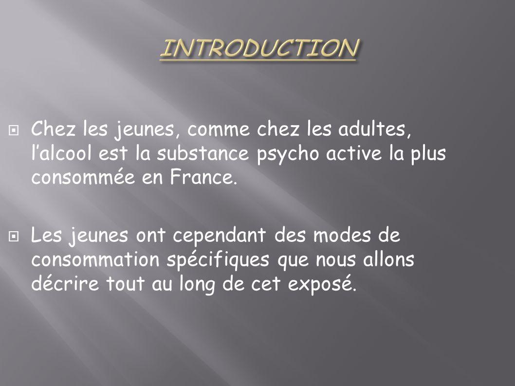INTRODUCTION Chez les jeunes, comme chez les adultes, l'alcool est la substance psycho active la plus consommée en France.