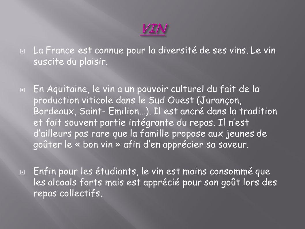 VIN La France est connue pour la diversité de ses vins. Le vin suscite du plaisir.