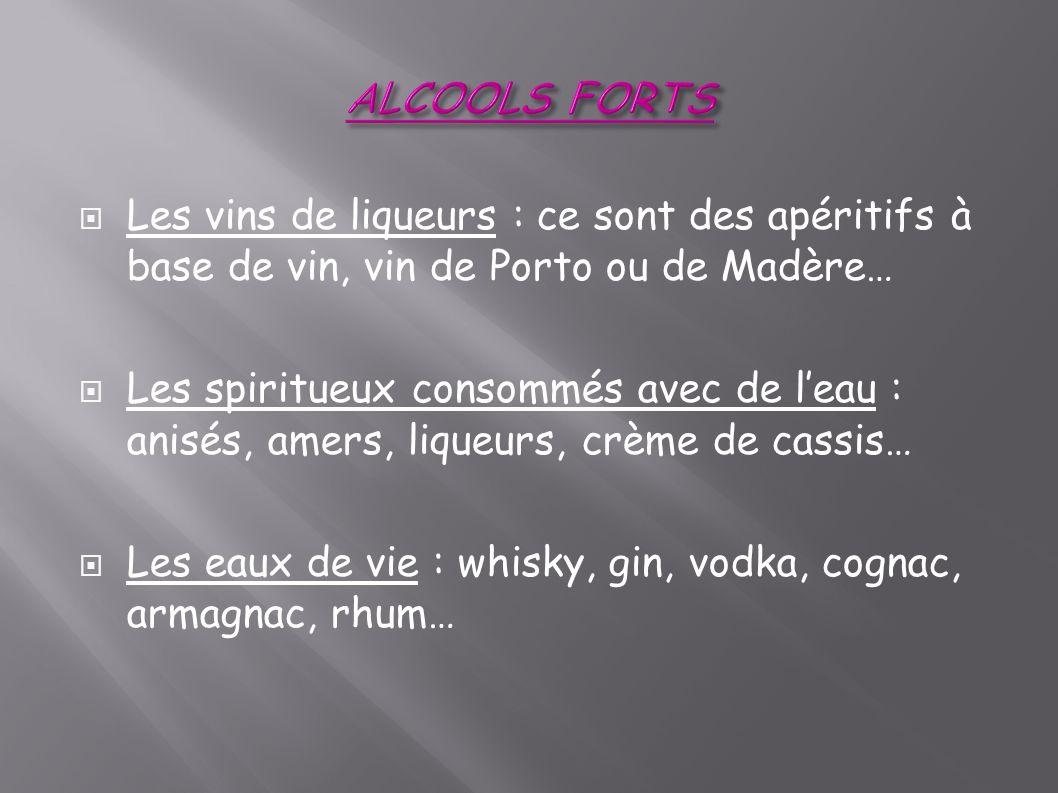 ALCOOLS FORTS Les vins de liqueurs : ce sont des apéritifs à base de vin, vin de Porto ou de Madère…