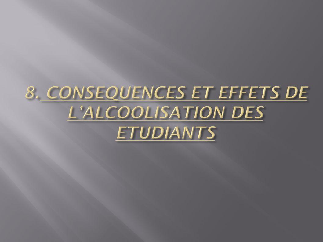 8. CONSEQUENCES ET EFFETS DE L'ALCOOLISATION DES ETUDIANTS