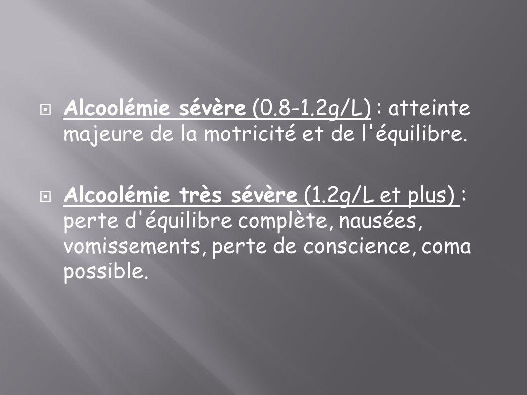 Alcoolémie sévère (0.8-1.2g/L) : atteinte majeure de la motricité et de l équilibre.