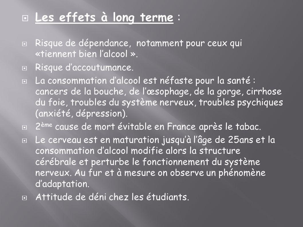 Les effets à long terme :