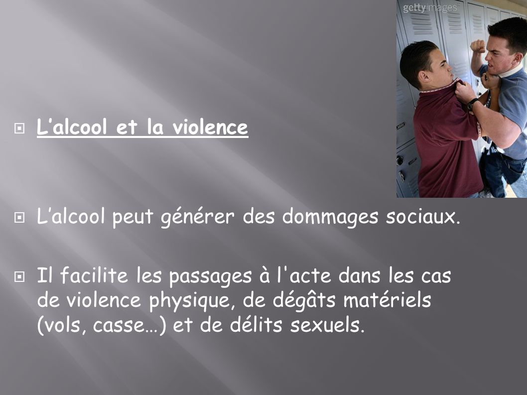 L'alcool et la violence