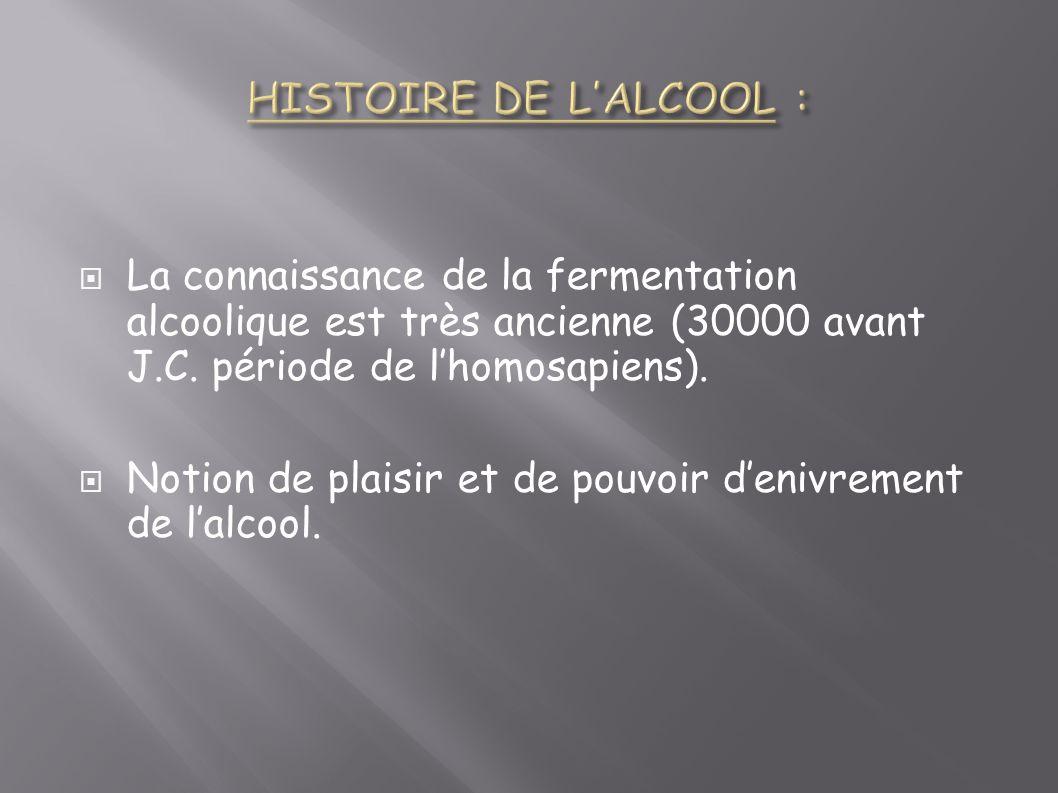 HISTOIRE DE L'ALCOOL : La connaissance de la fermentation alcoolique est très ancienne (30000 avant J.C. période de l'homosapiens).