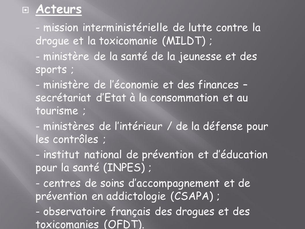Acteurs - mission interministérielle de lutte contre la drogue et la toxicomanie (MILDT) ; - ministère de la santé de la jeunesse et des sports ;