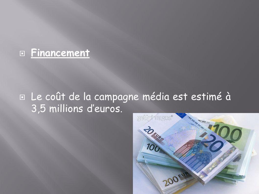 Financement Le coût de la campagne média est estimé à 3,5 millions d'euros.