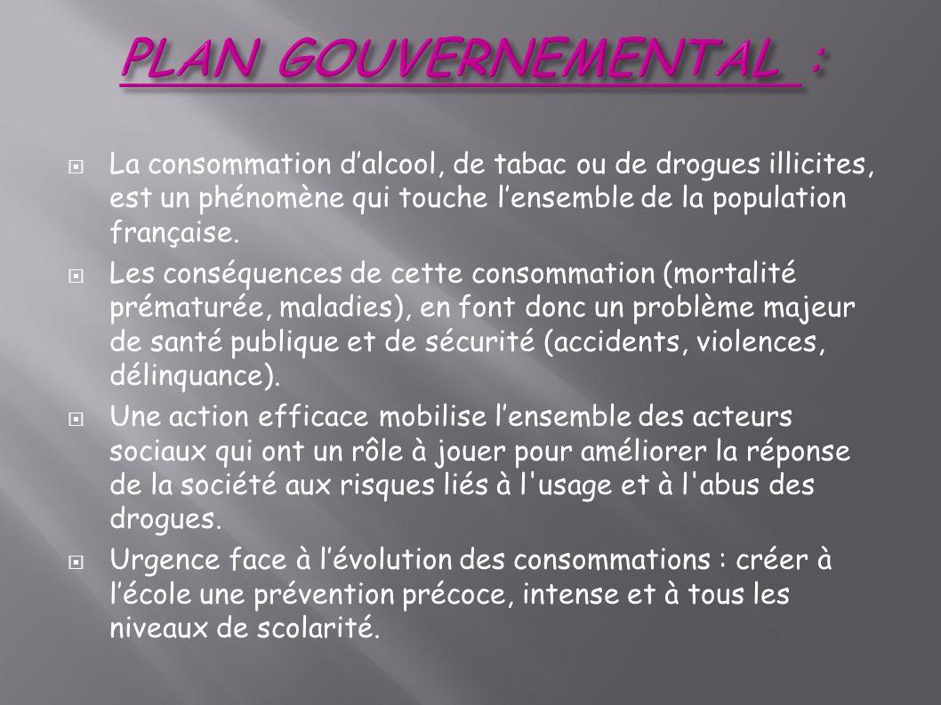 PLAN GOUVERNEMENTAL : La consommation d'alcool, de tabac ou de drogues illicites, est un phénomène qui touche l'ensemble de la population française.