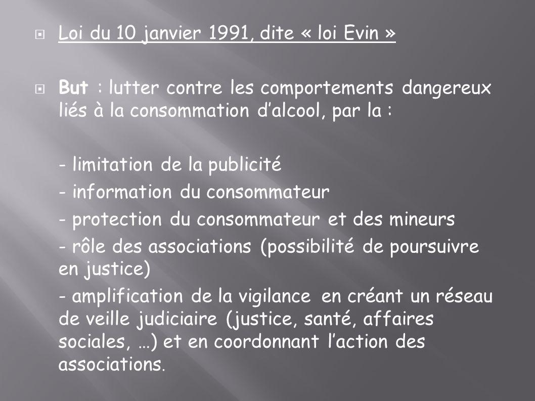 Loi du 10 janvier 1991, dite « loi Evin »