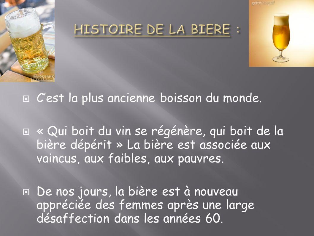 HISTOIRE DE LA BIERE : C'est la plus ancienne boisson du monde.