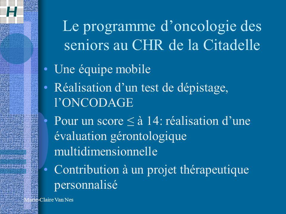 Le programme d'oncologie des seniors au CHR de la Citadelle