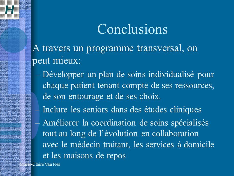 Conclusions A travers un programme transversal, on peut mieux: