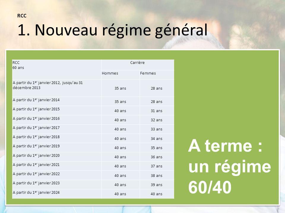 RCC 1. Nouveau régime général