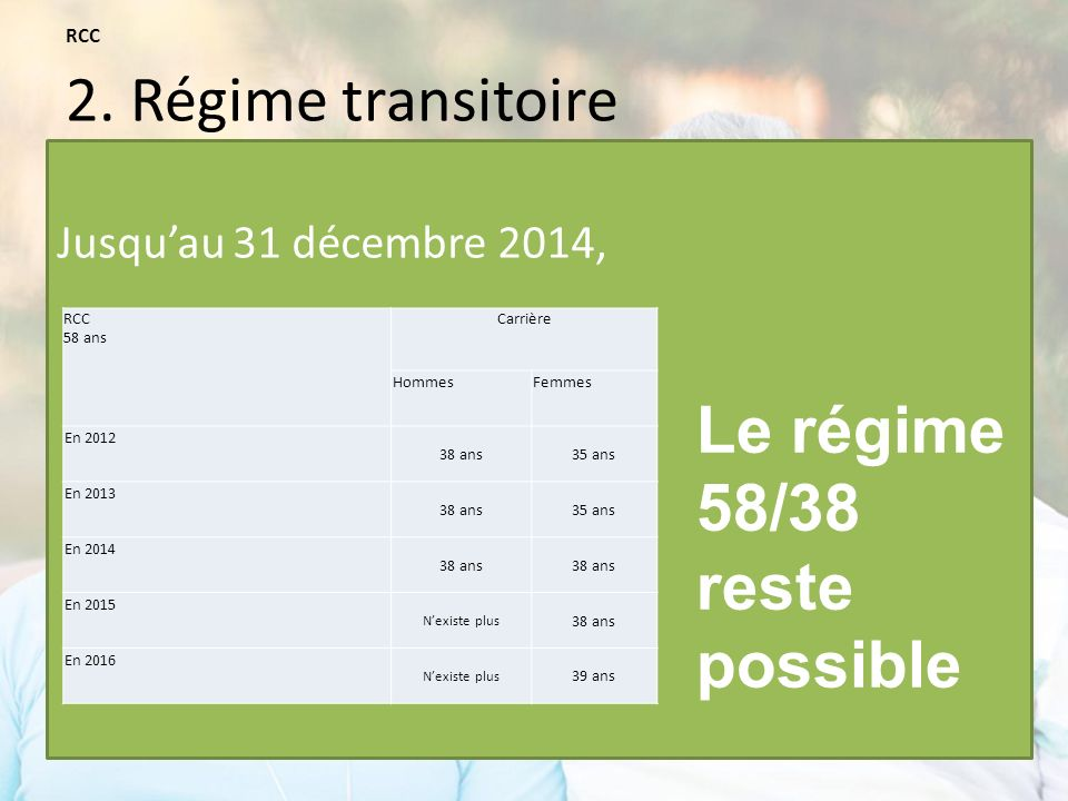 Le régime 58/38 reste possible