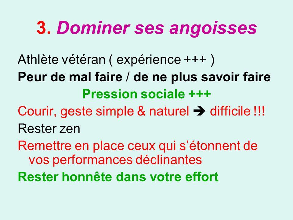 3. Dominer ses angoisses Athlète vétéran ( expérience +++ )