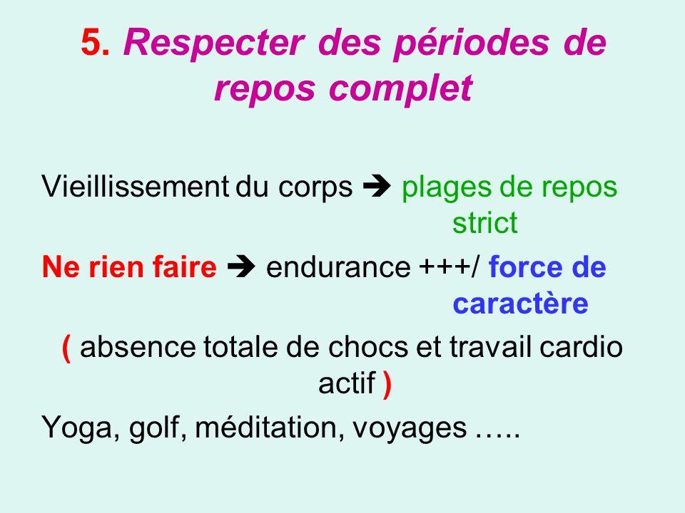 5. Respecter des périodes de repos complet