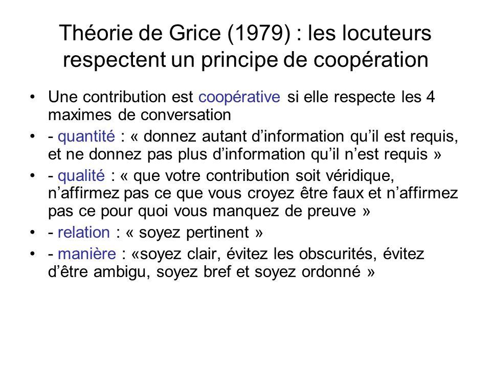 Théorie de Grice (1979) : les locuteurs respectent un principe de coopération