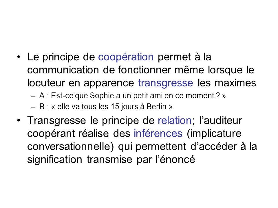 Le principe de coopération permet à la communication de fonctionner même lorsque le locuteur en apparence transgresse les maximes