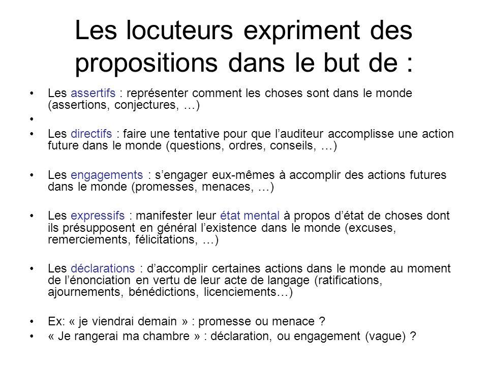 Les locuteurs expriment des propositions dans le but de :
