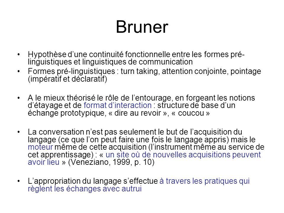 Bruner Hypothèse d'une continuité fonctionnelle entre les formes pré-linguistiques et linguistiques de communication.