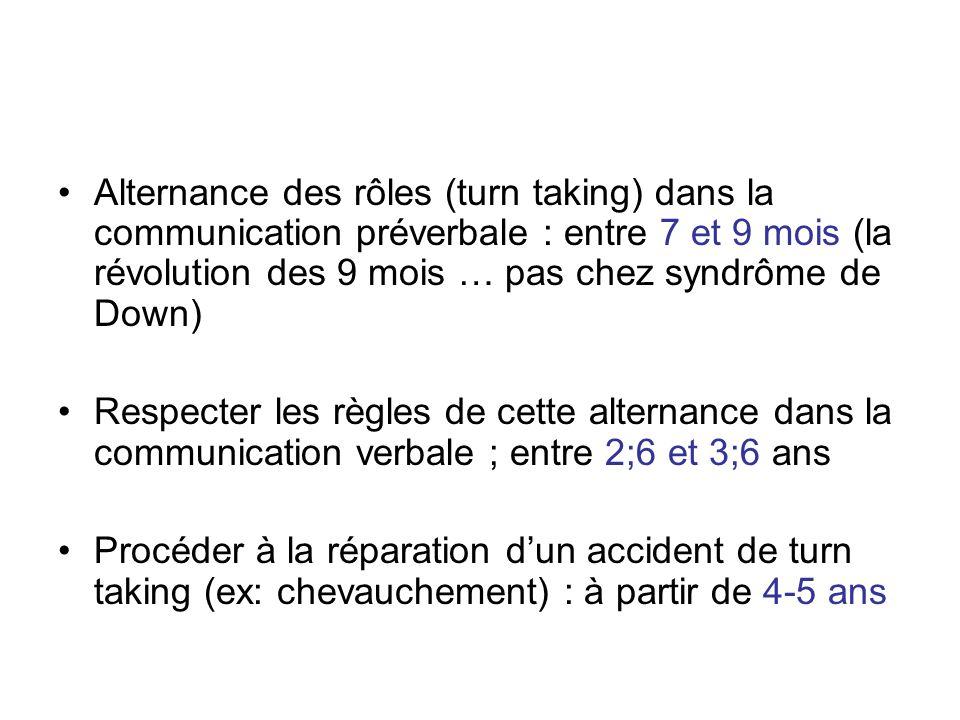 Alternance des rôles (turn taking) dans la communication préverbale : entre 7 et 9 mois (la révolution des 9 mois … pas chez syndrôme de Down)
