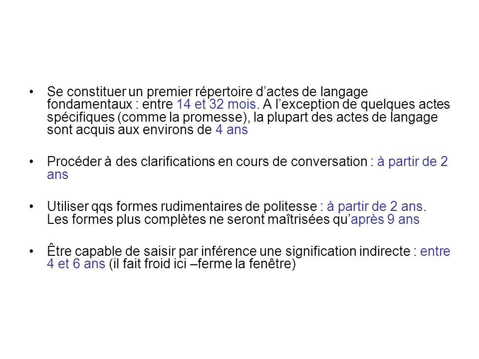 Se constituer un premier répertoire d'actes de langage fondamentaux : entre 14 et 32 mois. A l'exception de quelques actes spécifiques (comme la promesse), la plupart des actes de langage sont acquis aux environs de 4 ans