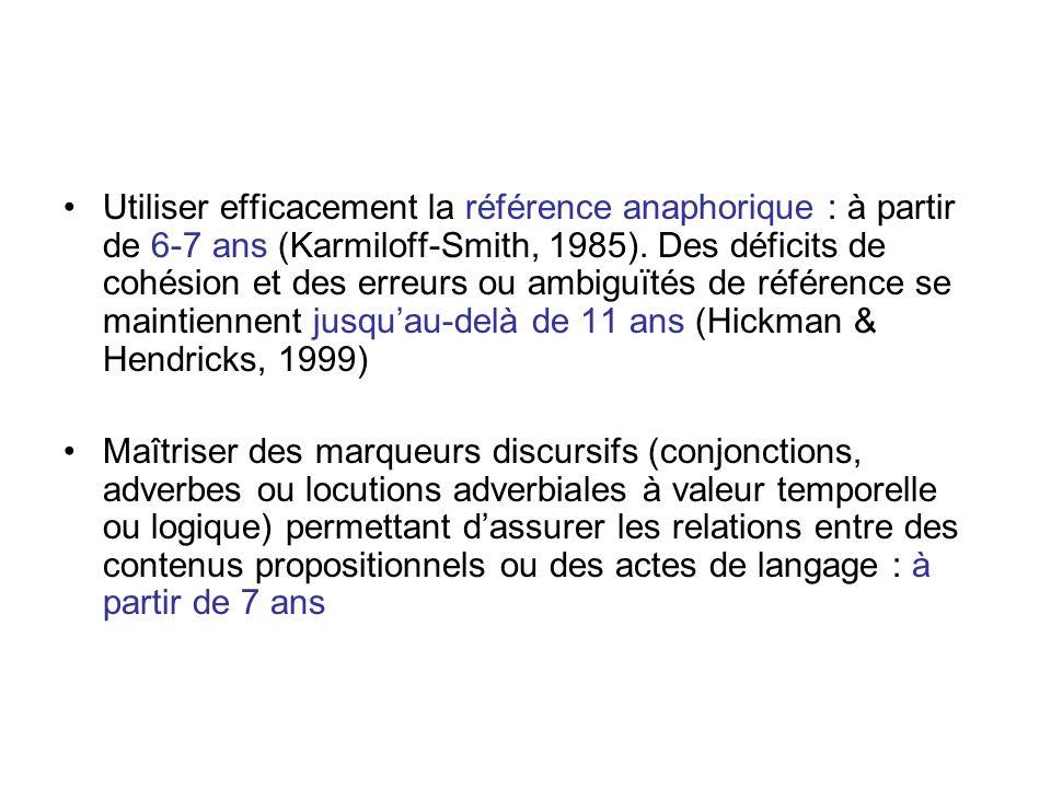 Utiliser efficacement la référence anaphorique : à partir de 6-7 ans (Karmiloff-Smith, 1985). Des déficits de cohésion et des erreurs ou ambiguïtés de référence se maintiennent jusqu'au-delà de 11 ans (Hickman & Hendricks, 1999)
