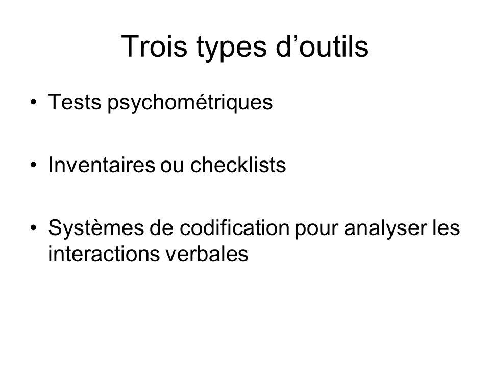 Trois types d'outils Tests psychométriques Inventaires ou checklists