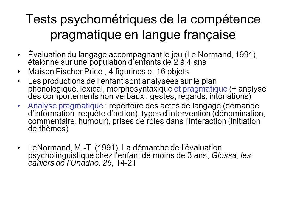 Tests psychométriques de la compétence pragmatique en langue française