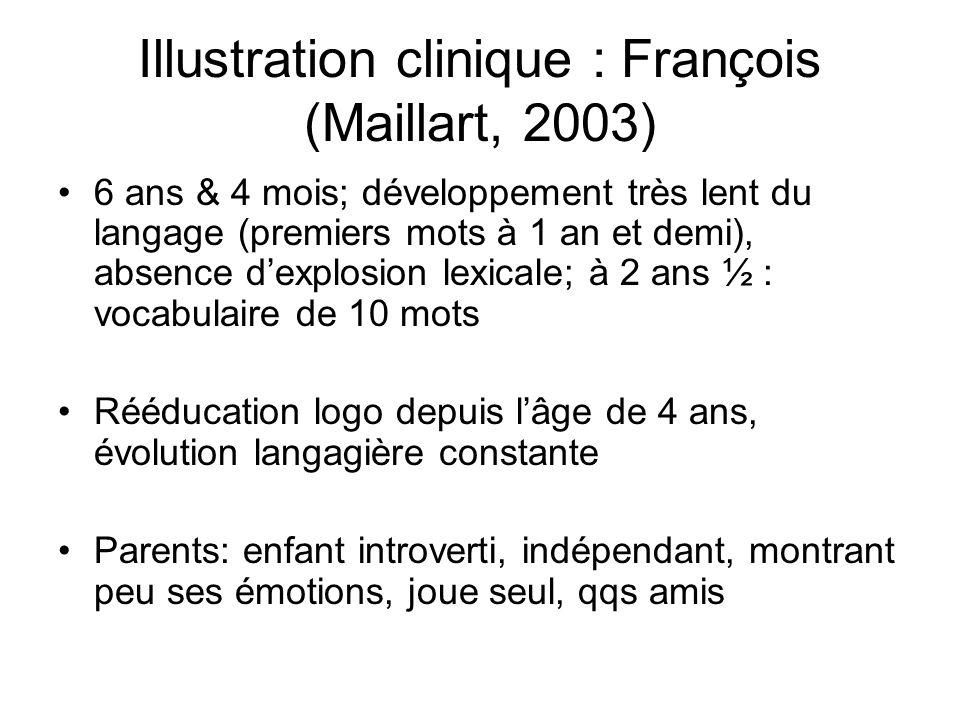 Illustration clinique : François (Maillart, 2003)