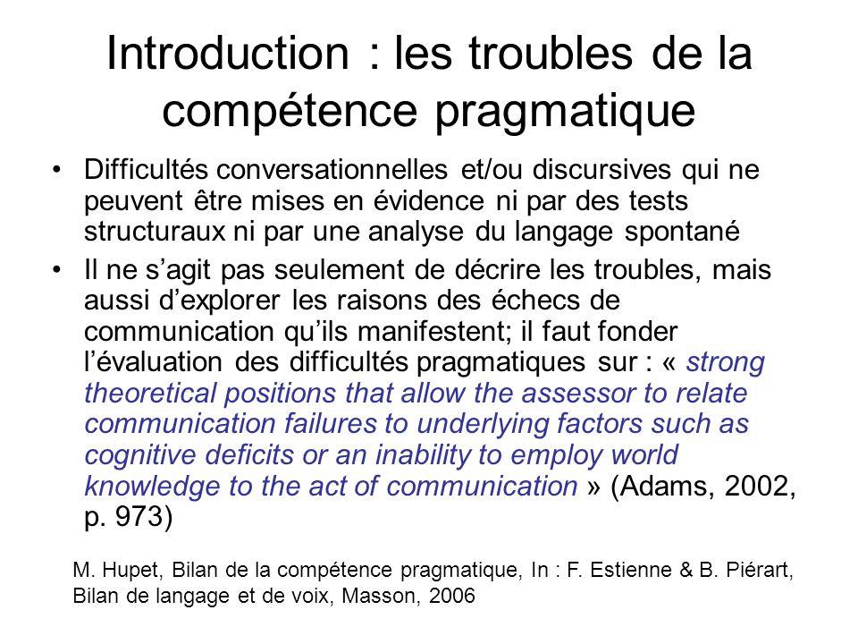 Introduction : les troubles de la compétence pragmatique