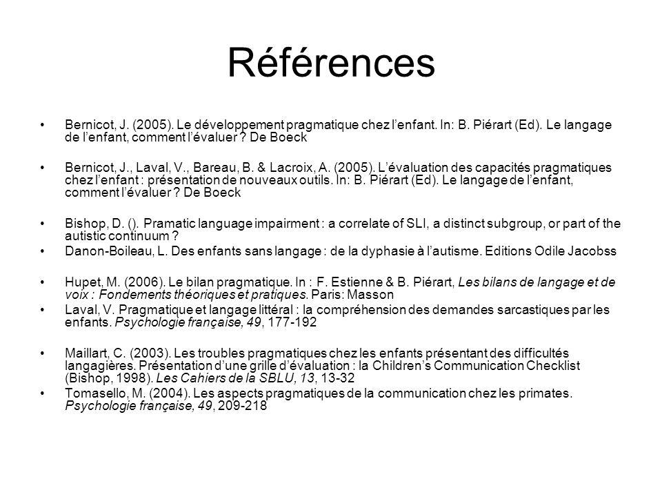 Références Bernicot, J. (2005). Le développement pragmatique chez l'enfant. In: B. Piérart (Ed). Le langage de l'enfant, comment l'évaluer De Boeck.