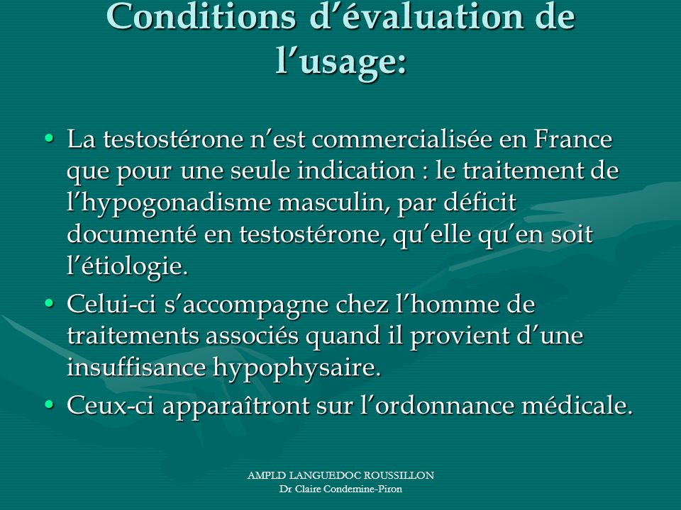 Conditions d'évaluation de l'usage: