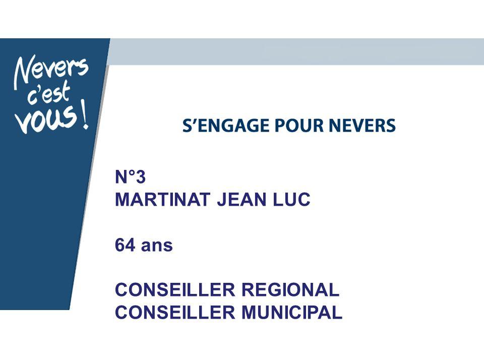 N°3 MARTINAT JEAN LUC 64 ans CONSEILLER REGIONAL CONSEILLER MUNICIPAL