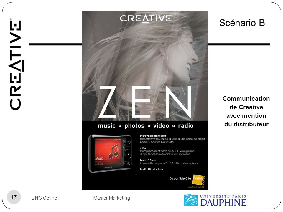 Communication de Creative avec mention du distributeur