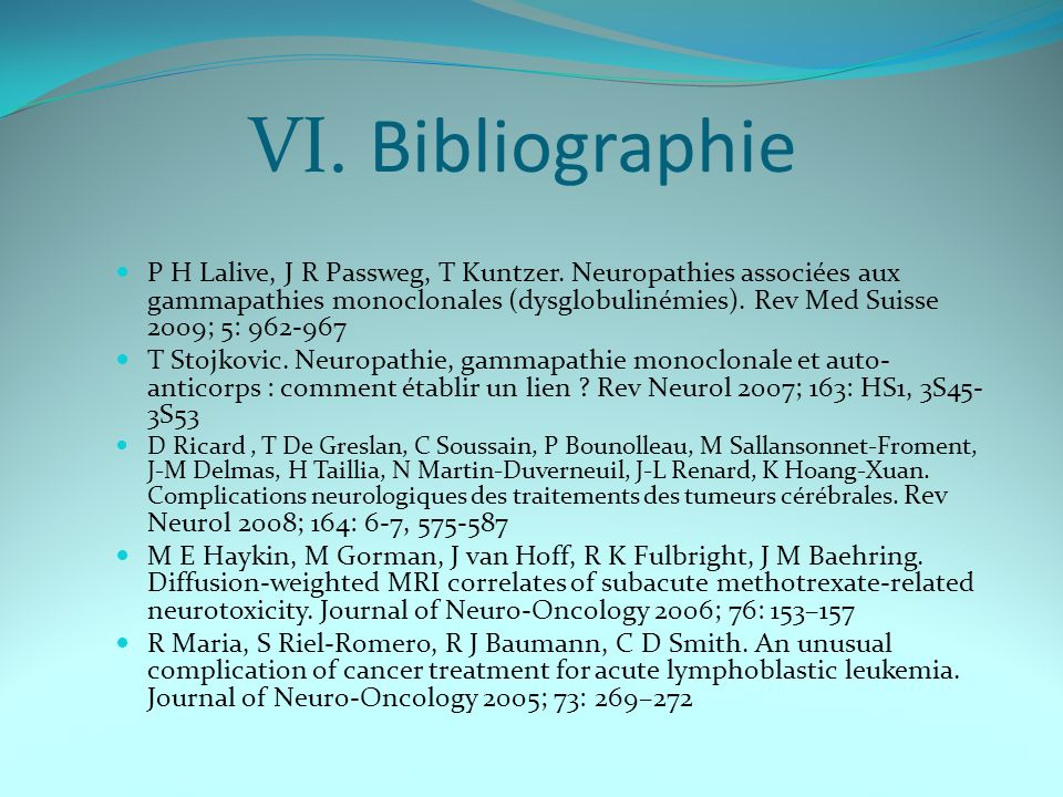 VI. Bibliographie