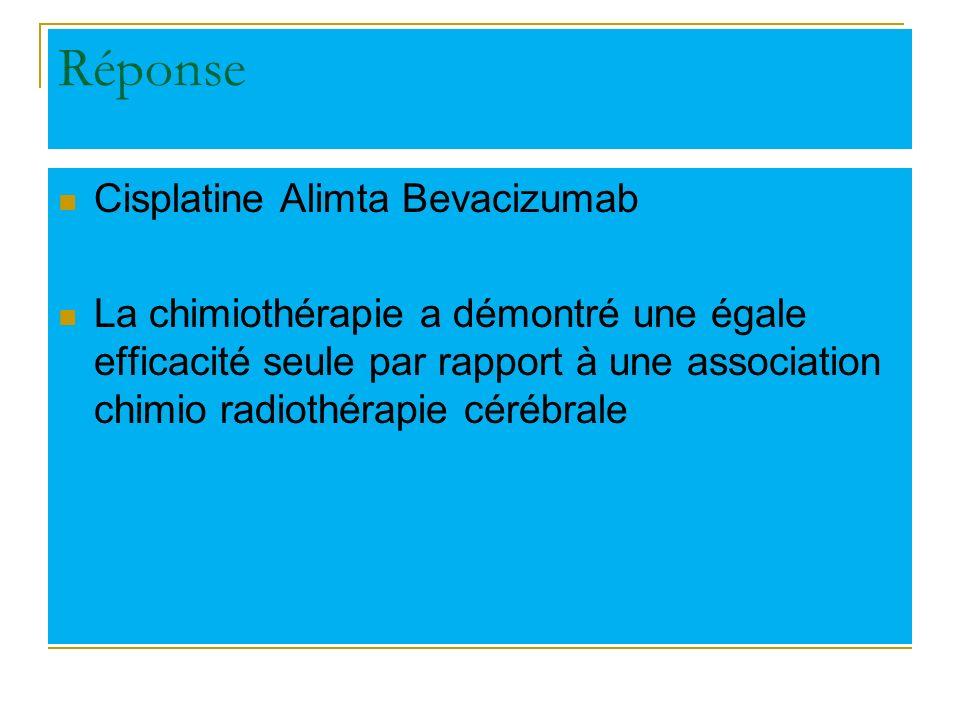 Réponse Cisplatine Alimta Bevacizumab