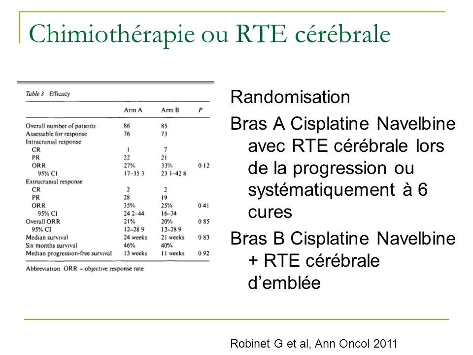 Chimiothérapie ou RTE cérébrale