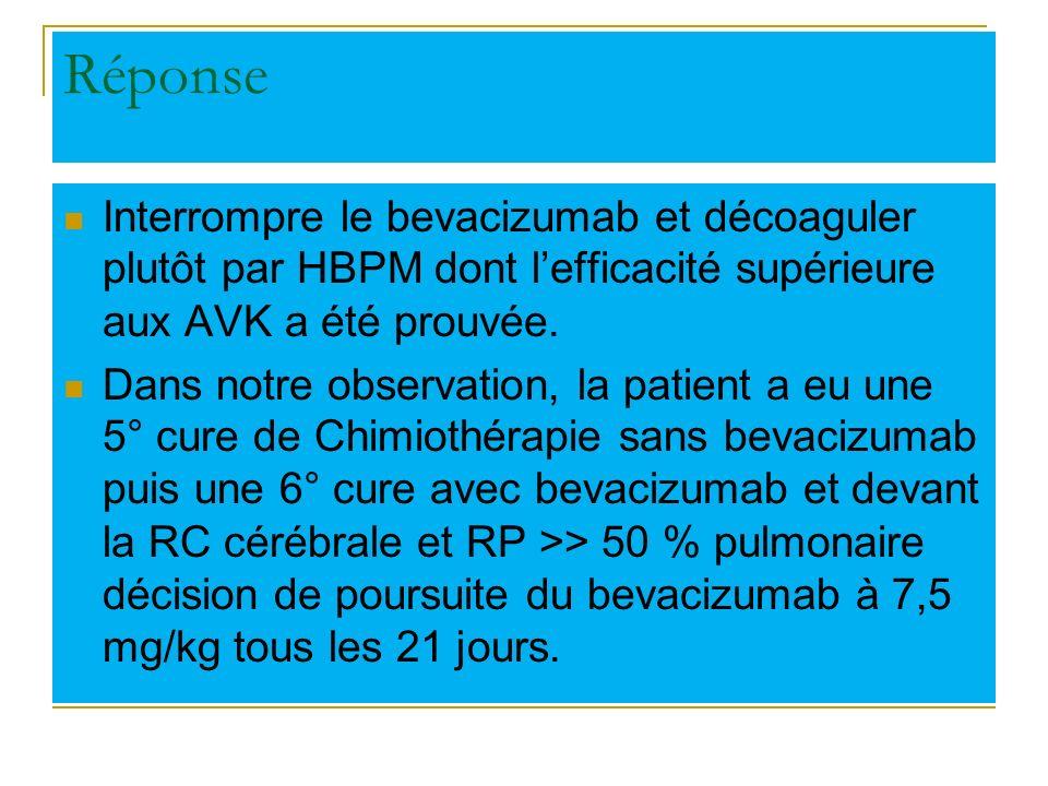 Réponse Interrompre le bevacizumab et décoaguler plutôt par HBPM dont l'efficacité supérieure aux AVK a été prouvée.
