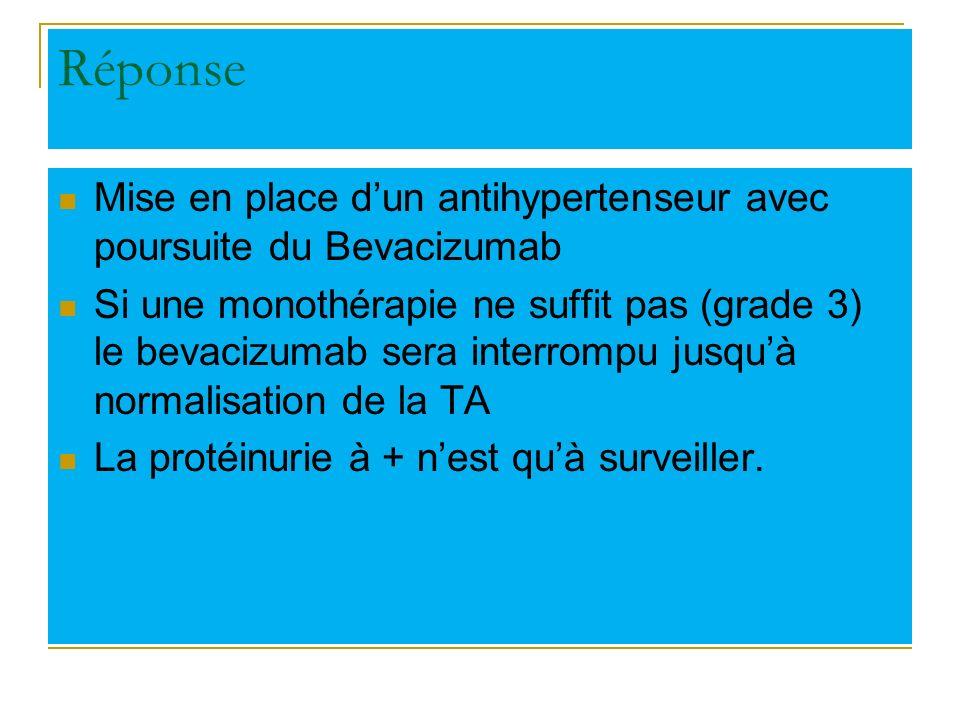 Réponse Mise en place d'un antihypertenseur avec poursuite du Bevacizumab.