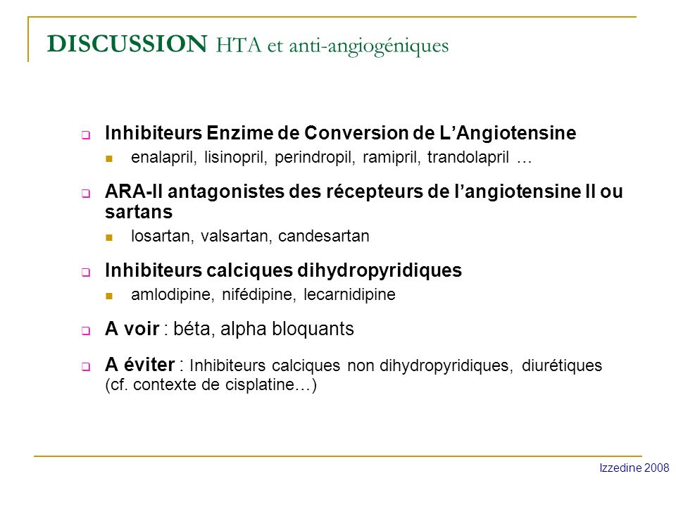 DISCUSSION HTA et anti-angiogéniques